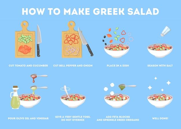 Griechisches salatrezept für vegetarier. gesunde zutat für leckeres essen. gurken- und olivenöl, tomaten und käse. frisches gemüsemehl. illustration