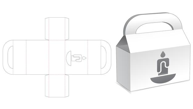 Griffbox mit gestanzter schablone für fenster in kerzenform