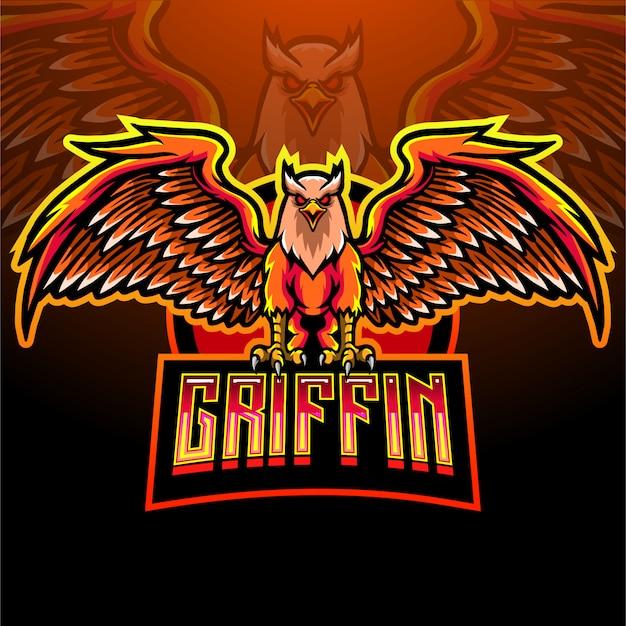 Griffin bird maskottchen-logo für elektronisches sportspiel-logo