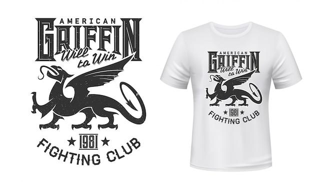 Griffin oder gryphon tier maskottchen t-shirt druck Premium Vektoren