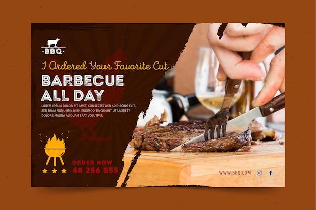 Grill-banner-vorlage mit foto