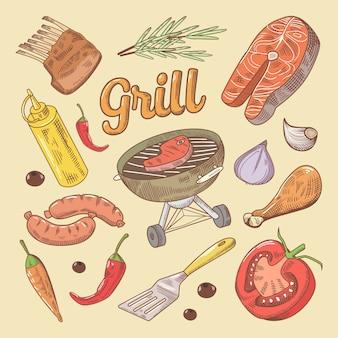 Grill barbecue doodle mit steak und wurst