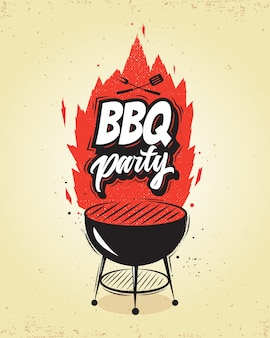 Grill, barbecue-party-plakat.