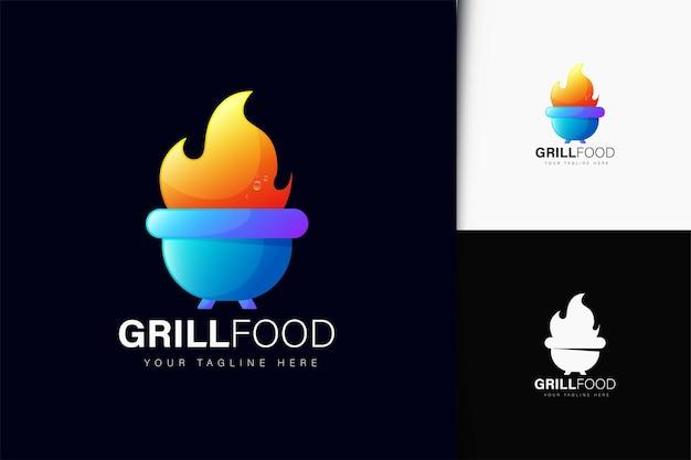 Grill-essen-logo-design mit farbverlauf