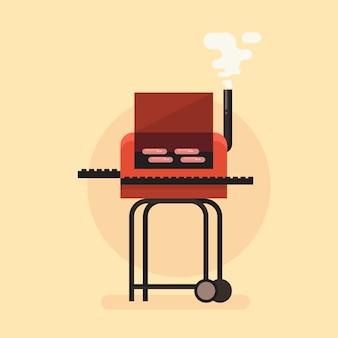 Grill-grill-bunte flache ikonen-vektor-illustration