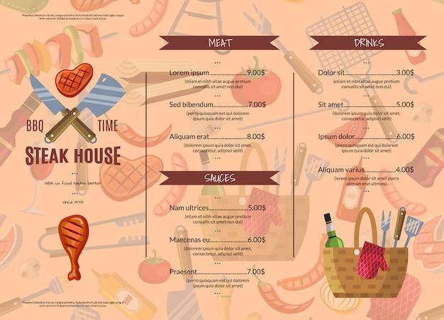 Grill, grill oder steakhaus horizontale menüvorlage
