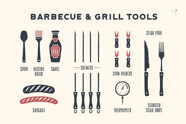 Grill, grillgarnitur. poster grill diagramm und schema - grill werkzeuge. set von grillartikeln, werkzeugen für steakhaus, restaurant, küchenplakat und design-fleischthemen. handgemalt.