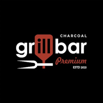 Grill logo design grill bar text rauchfleisch restaurant