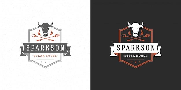 Grill-logo vektor-illustration grill steak house oder grill restaurant menü emblem kuhkopf mit flamme