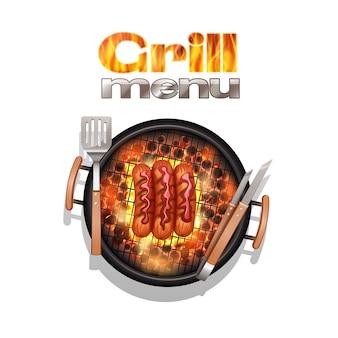 Grill-menü-design-konzept