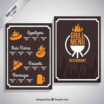 Grill-menü-schablone