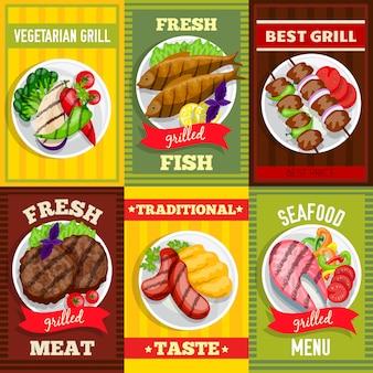 Grill mini poster set