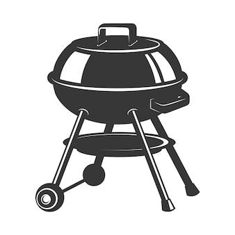Grill-symbol auf weißem hintergrund. elemente für logo, etikett, emblem, zeichen, abzeichen. illustration