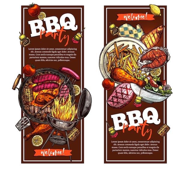 Grill und grill banner mit barbecue party einladung