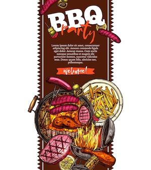 Grill und grill hintergrund mit grillparty einladung