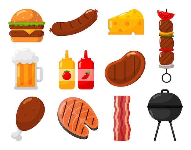 Grill und grill icons set