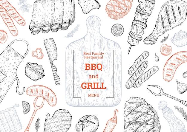 Grill- und grillmenü, barbecue-hintergrund mit fleischsteak-kebab-huhn. vintage-stil.