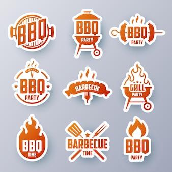 Grillaufkleber, etiketten, embleme, logos