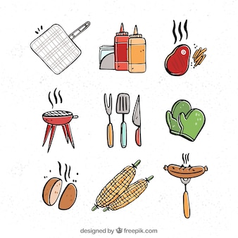 Grillelementensammlung mit nahrung und werkzeugen