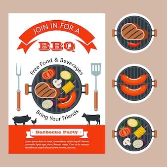 Grillen. köstliche leckere würstchen auf dem grill gebraten. vektor-illustration. lecker.