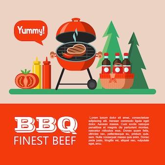 Grillen, picknick. appetitliches steak wird gegrillt, picknickkorb mit getränken, ketchup, senf, tomate. auf dem hintergrund des waldes. lecker. sommerurlaub in der natur. vektor-illustration.