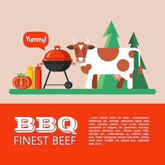 Grillen, picknick in der natur. nette kuh auf dem hintergrund des waldes. feinstes rindfleisch. vektorillustration mit platz für text.