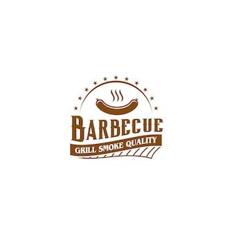 Grillen sie bbq-grillrestaurantlebensmittel-getränklogo, grillfeuerfleischwurst-spachtelelement