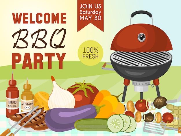 Grillen sie das picknick-party-plakatfleischsteak, das auf rundem heißem grillgrill gebraten wird.