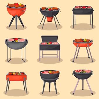 Grillen sie grill mit lebensmittel lokalisiertem satz