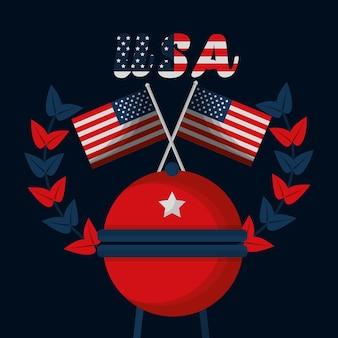 Grillflaggen amerikanischen unabhängigkeitstag vektor-illustration