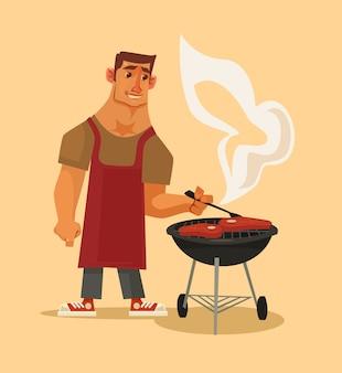 Grillparty. glücklicher lächelnder manncharakter, der grillt. flache karikaturillustration