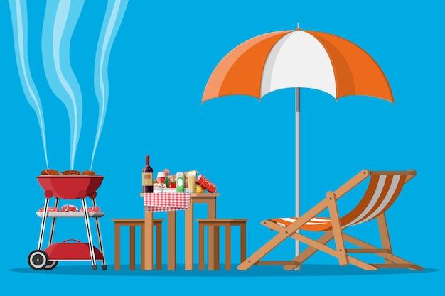 Grillparty oder picknick. tisch mit flasche wein, gemüse, käse, dose bier.