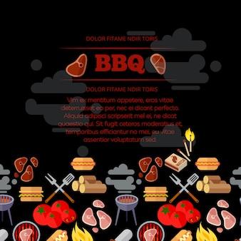 Grillparty-plakatdesign mit flachen ikonen des grills und des fleisches