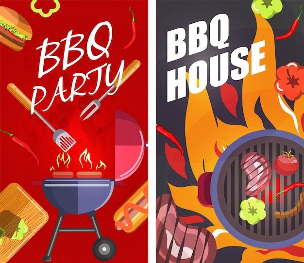 Grillpartyhaus grillt fleisch und steaks banner