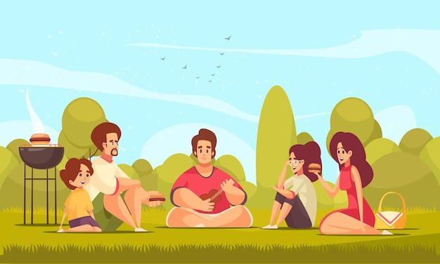 Grillpicknickkomposition mit vorstädtischer landschaft und gekritzelartcharakteren von kindern und erwachsenen, die grill essen