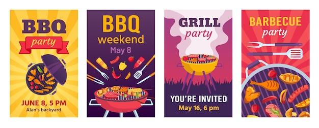 Grillplakate. grillpartyeinladungen für ein sommerpicknick im freien im park oder hinterhof mit essen auf dem grill. cookout-event-flyer-vektor-set. illustration grill-picknick-plakat-vorlage, grill grill
