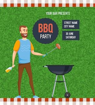 Grillplatz für partyplakate im freien für text. glücklicher mann, der grillsteak kocht und bier picknick-wochenende trinkt