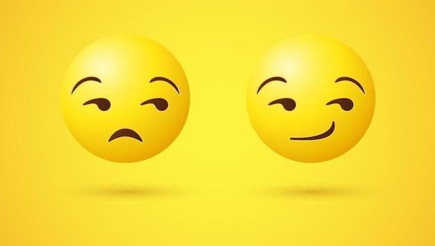 Grinsendes emoji-gesicht mit augen, die zur seite schauen, oder 3d unamused emoticon mit unzufrieden