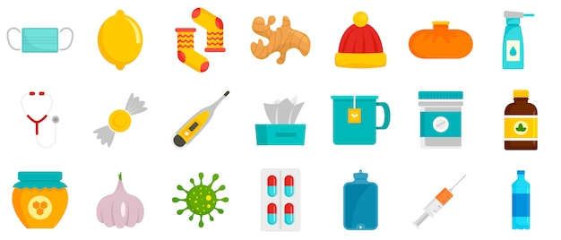 Grippe krank icon set