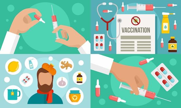 Grippe-krankheit-banner-set