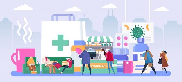 Grippe menschen in der apotheke, cartoon winzigen apotheker verkauft antiviralen impfstoff, krank traurigen charakter im schal hat erkältung