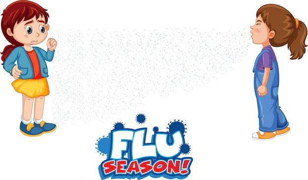 Grippe-saison-schriftdesign mit einem mädchen, das ihren freund ansieht, der auf weißem hintergrund niest