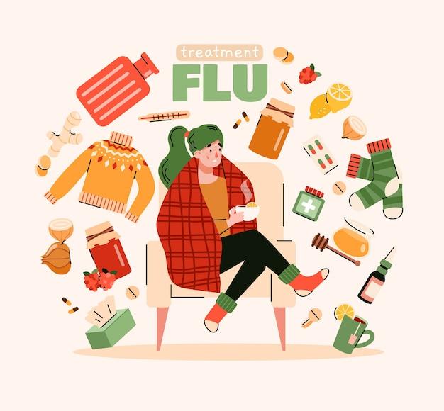Grippebehandlungsplakat mit kranker person und natürlichen hausmittelobjekten