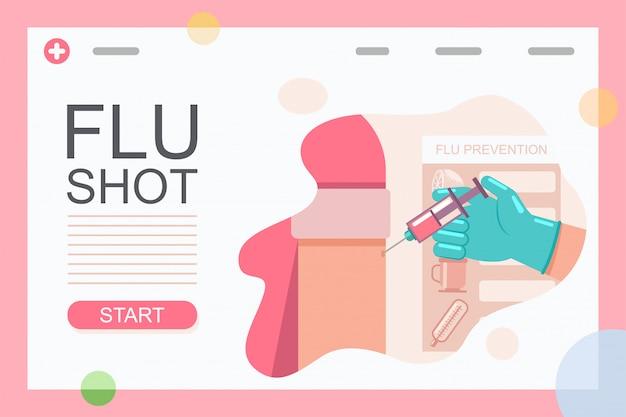 Grippeimpfungsillustration von doktorhand mit einer spritze, die einspritzungspatientenimpfstoff onrm macht.