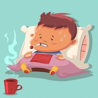 Grippekarikatur mit einem kranken kindercharakter auf einem kissen und einer decke bedeckt