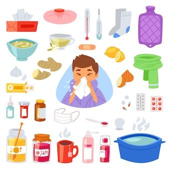 Grippekranker charakter mit fieber und krankheit und niesender nasenillustrationssatz von krankheits- und medizinischen behandlungszeichen mit medikamenten
