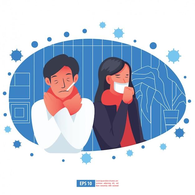 Grippekrankheit durch koronavirus-konzept. flache illustration