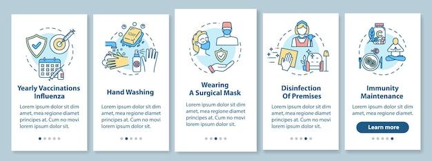 Grippeprävention onboarding mobiler app-seitenbildschirm mit konzepten. hygiene, impfung. influenza-behandlung walkthrough 5 schritte grafische anweisungen. ui-vektorvorlage mit rgb-farbabbildungen