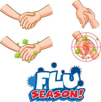 Grippesaison-schriftdesign mit virus verbreitet sich durch händeschütteln auf weiß Kostenlosen Vektoren