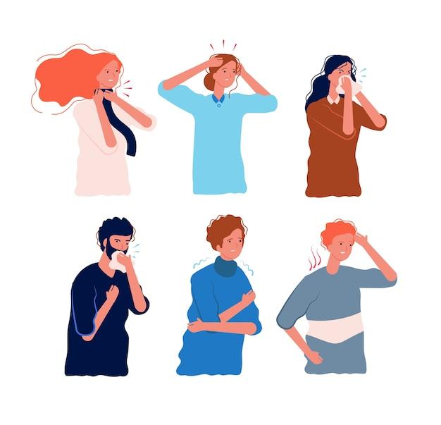Grippesymptome menschen. charaktere der krankheit fieber schmerzen im körper halsschmerzen drücken kopf schwindel schüttelfrost grippe prävention vektor flach. illustration krank und fieber, krank und krankheitssymptome